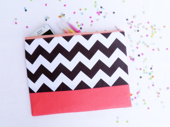 Chevron XLARGE zipper pouch 10 x 8 inch geometry color block brown coral