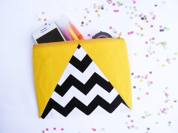"""Black and white chevrons LARGE zipper pouch 6""""X8"""" geometry bright yellow"""