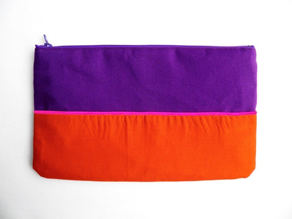 "Neon Clutch 6""X10"" color block in purple and paprika with Neon pink piping"