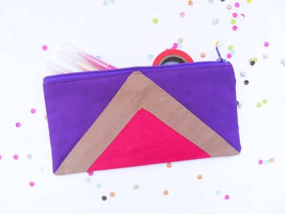 """zipper pouch 4""""X8""""  geometry  pencil case in hot pink and purple"""