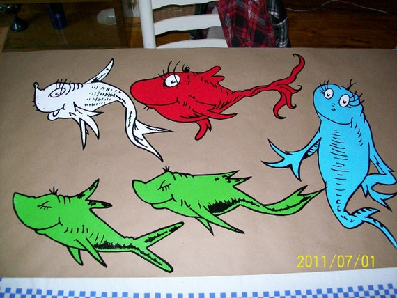 Dr seuss 5 piece wallpaper mural one fish two fish for 5 piece mural