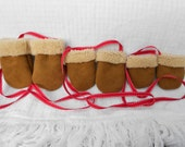 Sheepskin Mittens on a Ribbon for Babies and Toddlers.