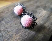 Earrings Pink Mums on Filigree
