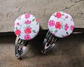 Infant Hair Clips Set of 2 Floral Buttons