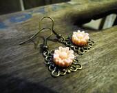 SALE Flower Earrings Peach Sunflower
