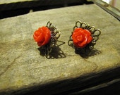 Red Rose Earrings with Antique Brass Filigree