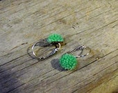 Flower Earrings Green Mums Surgical Steel Lever Back