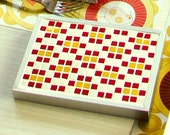 Trivet Mosaic Table mat Vintage Floral pattern Red Yellow Kitchen Home decor JANIS