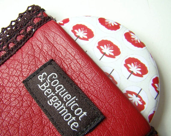 Pocket Mirror Compact mirror Round mirror Natural Poppy pattern and Red Case Pouch Lace Faux Leather Polka dots