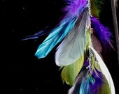 Rainbow Fluorite Crystal Feather Earring Gorgeous Purple, Green, Blue, Gray, & Silver Feathers