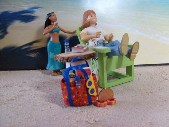 Handmade miniature beach bag with towel, book, water, sunglasses & lotion (Red/Blue) dollhouse 1:12 scale