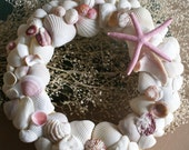Seashell wreath,  pink and white, beach wreath, summer, coastal, shabby chic, cottage chic, beach decor, princess room, wall decor, wall art