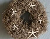 Starfish wreath, seashell wreath, coastal decor, seashell decor, spring wreath, eco friendly