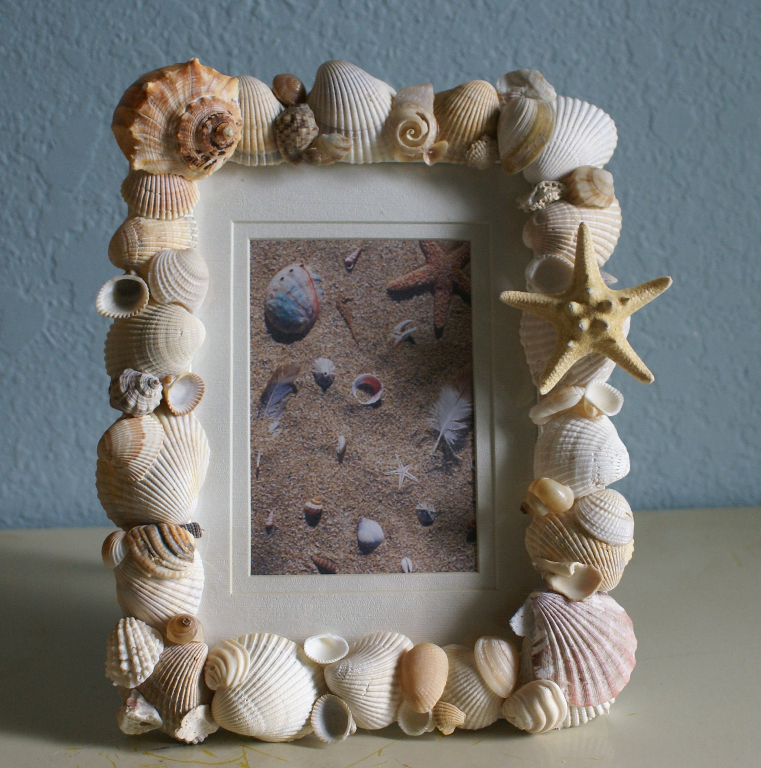 Seashell picture frame home decor sea shell photo natural for Shells decorations home
