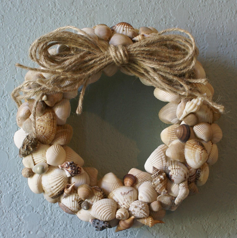 Natural seashell wreath tan brown beige eco friendly beach for Seashell decor
