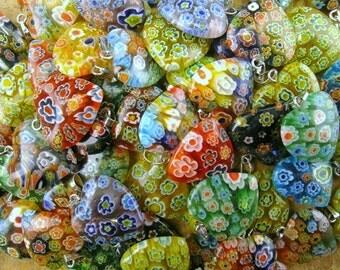 Wholesale Bulk Lot of 25 Milli Fiori Heart Pendants for Jewelry or Crafts