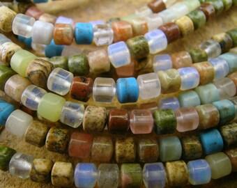 "Semi-precious Assorted Gemstone Rondelle Barrel Capsule Tube Beads 5mm  16"" Strand"