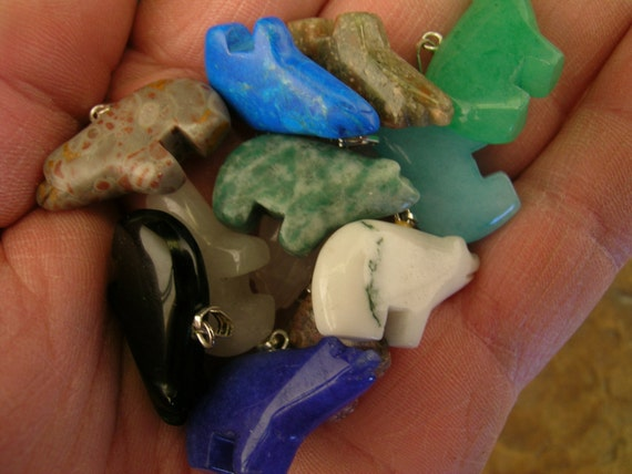 Wholesale Lot of 12 gemstone grizzly bear fetish pendants for focal Jewelry or Crafts Lot 4