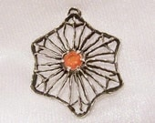 Orange Citrine in Sterling Silver Pendant: OOAK Vintage Necklace - i1015