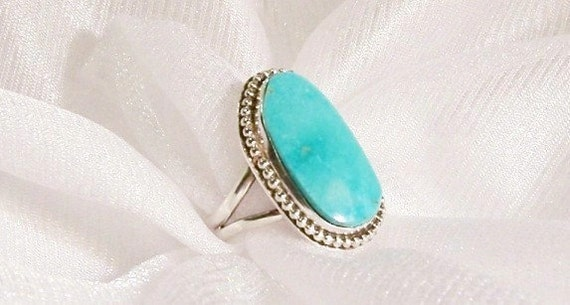 Turquoise Ring: Sterling Silver Ring, OOAK - Size 4 1/2 - B2008