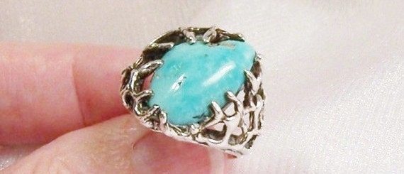 Turquoise Ring in OOAK Sterling Silver, Size 7 1/4 - H1001