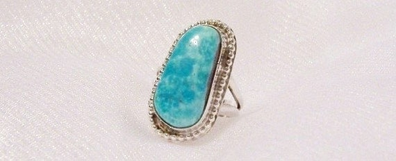 Vintage Turquoise Sterling Silver Ring, Size 3 1/2 - OOAK - B2005