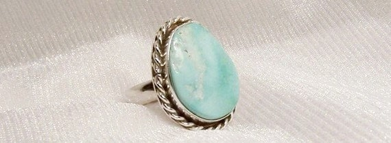 Western Turquoise Ring in Sterling Silver, Size 6 3/4 - H1016