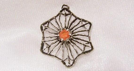 Orange Citrine in Sterling Silver Pendant: OOAK Vintage Necklace - i1015