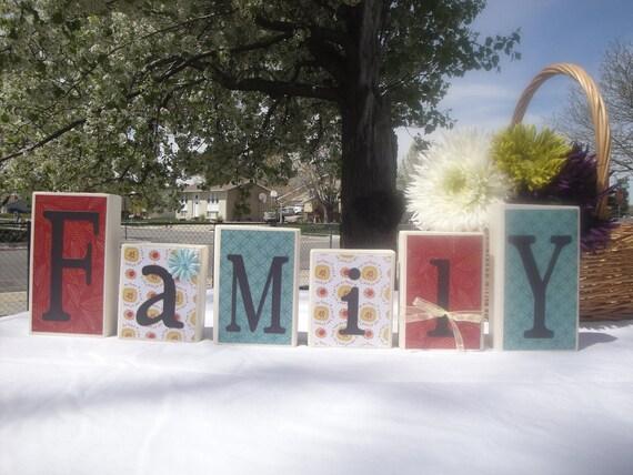Wooden Letter Blocks - Family