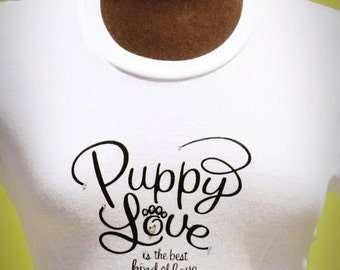 Women's 'Puppy Love' Bella Tee in White, Pink and Silver