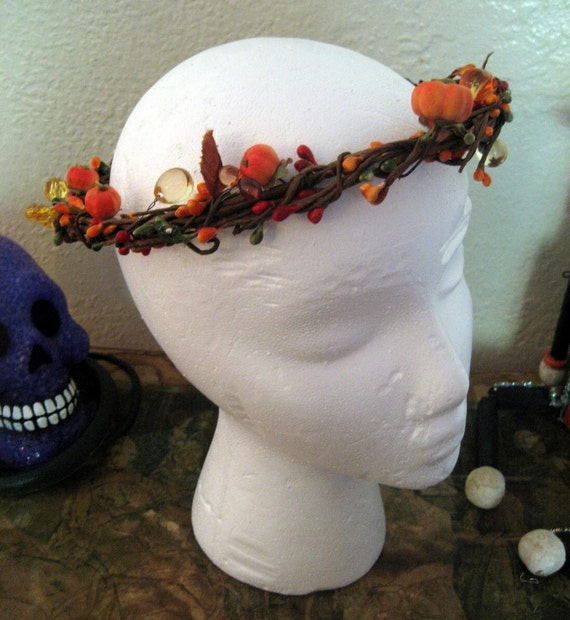 Vintage Woodland Head Wreath Fairy Crown with Pumpkins
