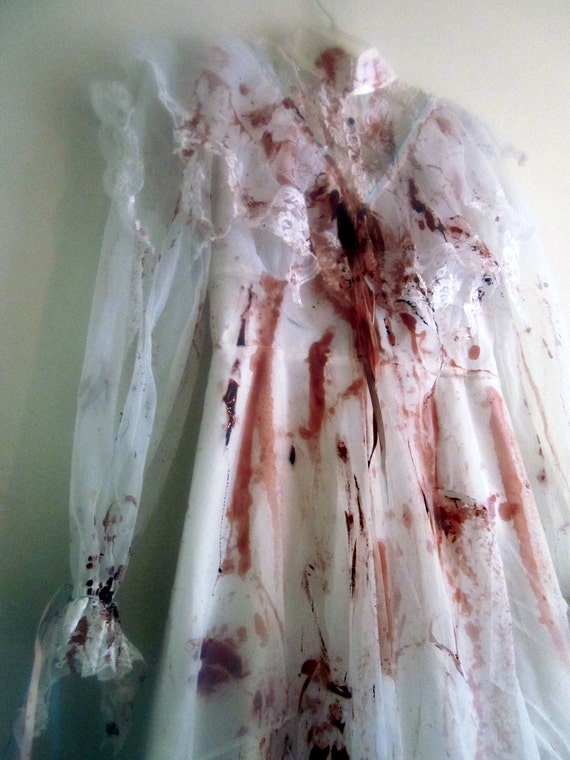 Bloody Mess Victorian Style Long White Gown. Bloodied and Tattered.  Lizzie Borden, Bloody Mary, Dead Bride, Vampire, Zombie Bride Costume