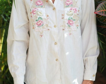 Vintage Women's Collared Embroidered Shirt
