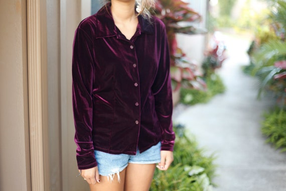 Women's Vintage Purple Velour Long Sleeve Blouse