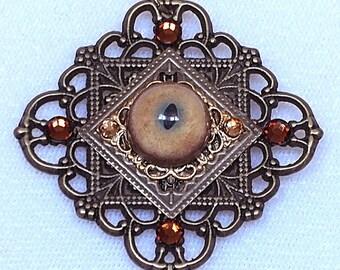 SALE PRICE Bobcat Eye Square Filigree Pendant