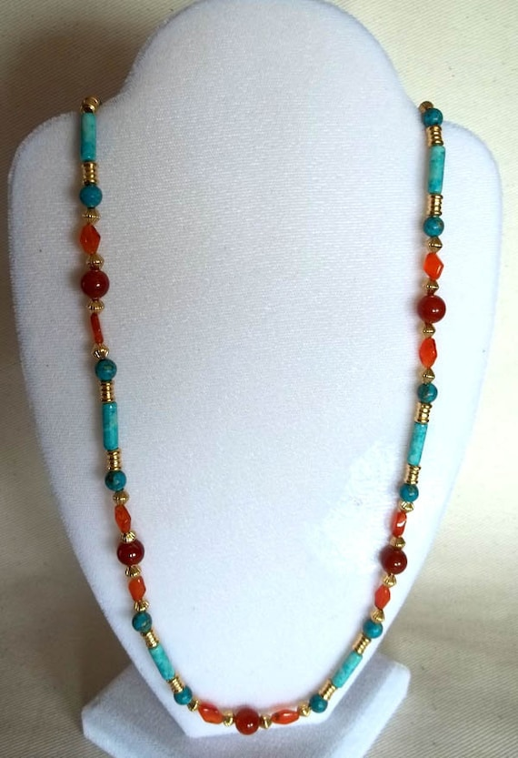 Southwestern Style Carnelian, Turquoise & Riverstone Necklace