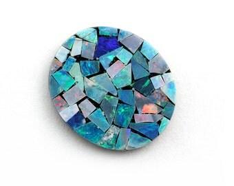 14x16mm Opal Mosaic, 1 stone, Oval Cabochon, Genuine Opal Mosaic
