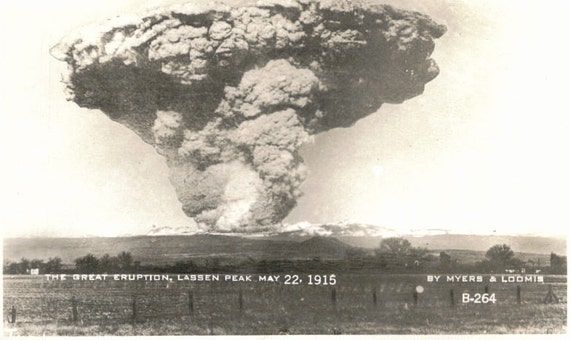 "Reserved for Mary Watson   Vintage Postcard titled  ""The great Eruption, Lassen Peak May 22, 1915"""