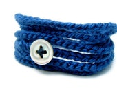 Royal blue wrap bracelet - soft cotton yarn jewelry with vintage button.  Simple, stylish summer fashion in blue