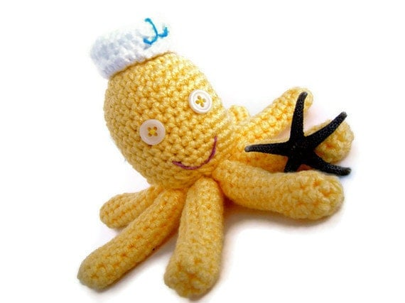 Yellow Octopus toy, stuffed, child sea life.  Plush sailor octopus amigurumi - adorable desk toy or toy for children