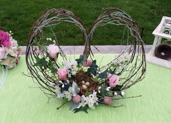 Twig and Chicken Wire Heart Flower Arrangement with Bird Nest
