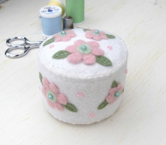 Wool  Felt Pin Cushion with Pink Flowers
