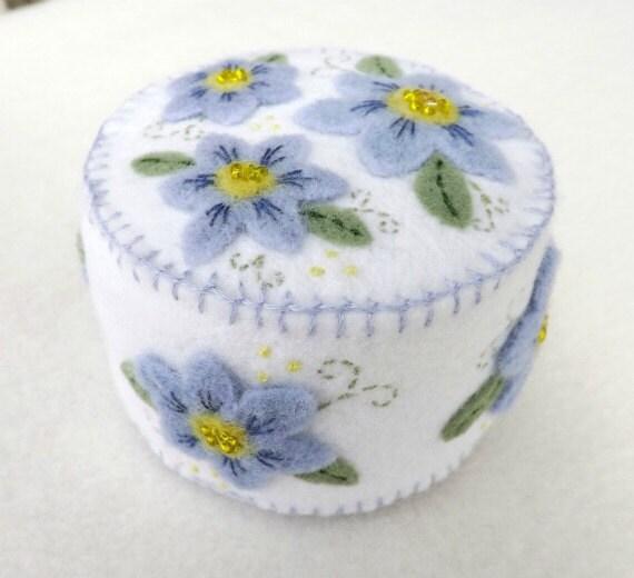 Wool Felt Pincushion with Blue Flowers