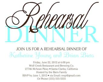 Custom Printable Wedding Rehearsal Dinner Invitation Digital File