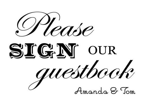Custom Printable Wedding Guestbook Sign Digital File
