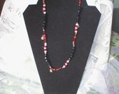Ladybug Necklace Beaded/ Stretch/ Ladybug Charms/Unique Handmade Jewelry/SALE/Clearance