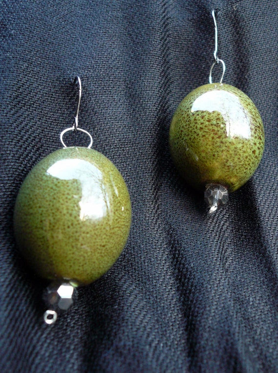 Olive Green Ceramic Bead Earrings with Sparkly Faceted Glass and Gunmetal Brass Hooks