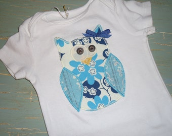Owl Birthday Onesie girl owl applique owl first birthday shirt