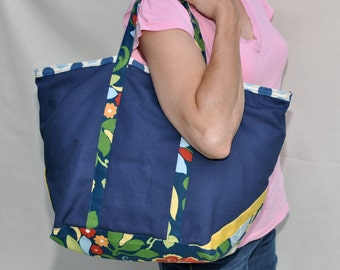 Large Zippered Navy Canvas Tote Bag