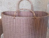 Antique Wicker Basket Shabby Chic Pale Pink Cottage French Country